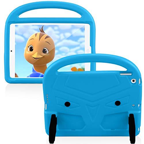 Funda para iPad 8ª Generación 2020 10.2 Pulgada, FAN SONG Carcasa Niños Antideslizante Ligero Antigolpes Plegable con Soporte y Encargarse, Funda Protectora Infantil para iPad 7ª Generación 2019, Azul