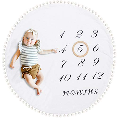 HAN-MM Baby Monthly Blanket with Wooden Circle Ring Play Mat Large(43.3' X43.3') Double Sided Pom Pom Ball Thick Flannel Round Rug for Boy Girl, Soft Baby Photography Props,Newborn