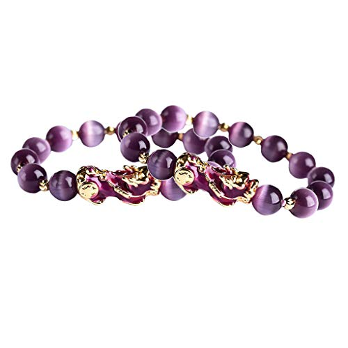 Milageto 2X Feng Shui Amulet Beads Pulseras Wealth Pixiu Bracelet Bring Lucky Brave