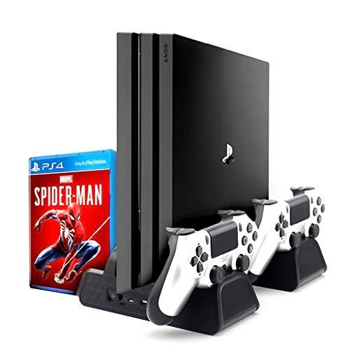 Estación Carga y Base Enfriadora para PS4, [3 in 1] Soporte Vertical con Ventilador, Cargar Rápida 2 Mandos, Almacenar 12 Juegos Compatible con Sony Play PS4, PS4 Pro, PS4 Slim
