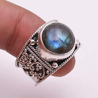 Anello in argento labradorite, anello in argento con labradorite blu fuoco, argento sterling 925, anello in argento, gioie...