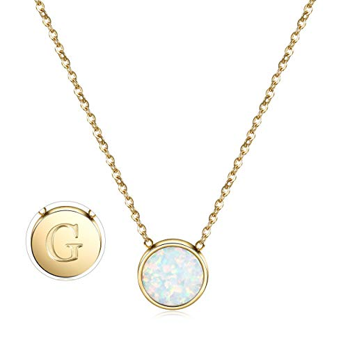 Ciunofor opal necklace, gold plated round disc, initial necklace engraved letter, with adjustable chain for women, girls. Gold G