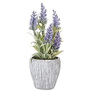 EBUYOM Mini Artificial Lavender Flowers Faux Flower Arrangement Bouquet Potted Plants Fake Bonsai Home Office Decoration Wedding Decor