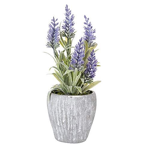 EBUYOM Mini Artificial Lavender Flowers Faux Flower Arrangement Bouquet Potted Plants Fake Bonsai Home Office Decoration Wedding Decor (A)