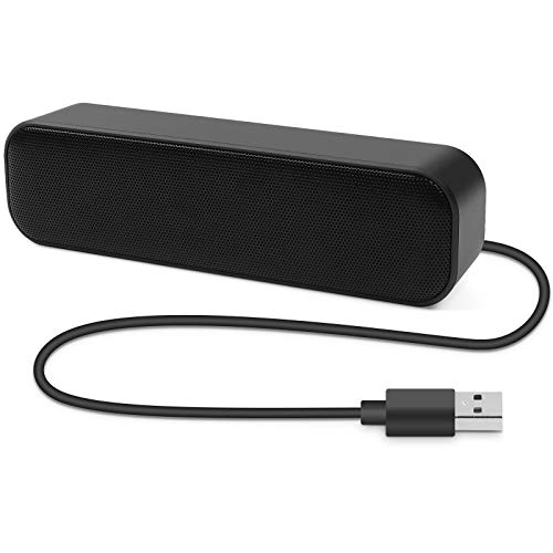 Umitive PC Lautsprecher Soundbar, Mini USB Computer Lautsprecher Tragbar mit 3D Surround Stereo, Plug and Play, Anti-Rutsch Design, Breite Kompatibilität for PC Desktop Computer Notebook