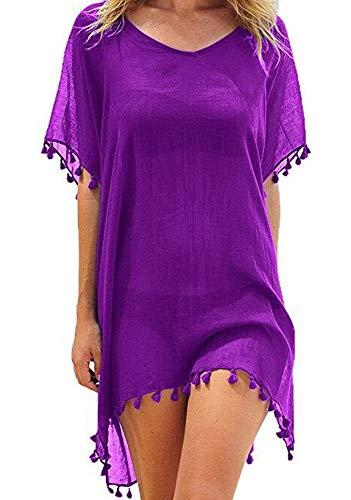 UMIPUBO Mujer Ropa de Baño Suelto Vestido de Playa Borla Verano Camisolas y Pareos Transparente Bikini Cover up (Púrpura)