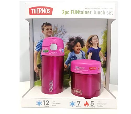 Thermos FUNtainer Lunch Set Bottle and Food Jar for Kids BPA Free Dishwasher Safe 2 PC Pink 2 PC Set