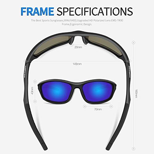 TOREGE Polarized Sports Sunglasses For Men Women Cycling Running Fishing Golf TR90 Unbreakable Frame TR010 (Black&Blue lens)