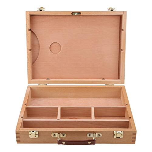 EVTSCAN Art Supplies Box Staffli Skisslåda Målning Förvaringslåda, Justera trä Bordsskiva Staffel för Ritning & Skissning Student (Målning Staffli Box)
