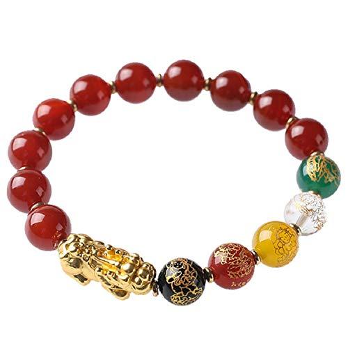 NA Fengshui Obsidiana Rojo ágata Cinco Elementos Cinco Dioses de la Riqueza 10mm Tallado Pulsera atraer la Suerte y la Riqueza Regalado