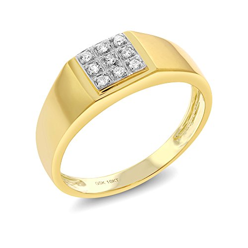 Gem Stone King Men's Solid 10k Yellow Gold Natural White Diamond Wedding Anniversary Ring (Size 10)
