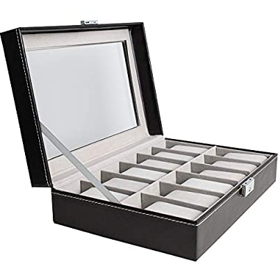 Watch Box Organizer Pillow Case 12 Slot Premium Display Cases with Framed Glass Lid Elegant Contrast Stitching Sturdy and Secure Lock for Men and Women Watch and Jewelry Large Holder Boxes