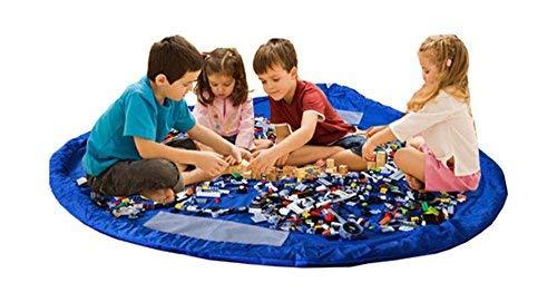 Alankara Barn leksaksförvaringsväska lekmatta – stor leksaksförvaringsväska organisering & lekmatta för barn. Bärbar med dragsnöre för att enkelt öppna och stänga. Hållbar och lätt att rengöra. 150 cm (60 tum). (Blå)