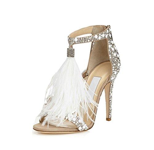 WSK Tacones altos de las mujeres Zapatos de boda Diamante caliente Sandalias de plumas sexy...