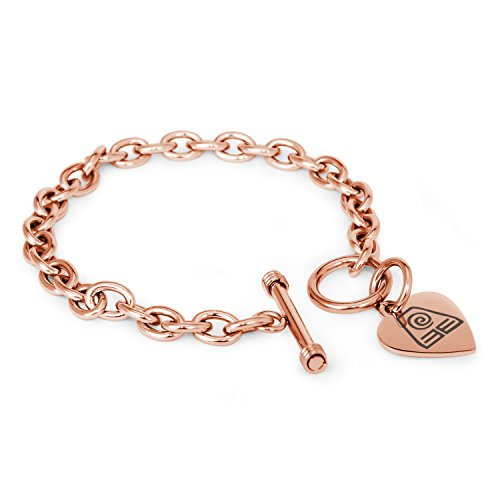 Rose Gold Plated Stainless Steel Avatar Earth Element Symbols Heart Charm, Bracelet Only