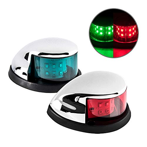 Sebnux LED Boat Navigation Light Red and Green LED Marine Navigation Light Boat Bow Light for Pontoon and Small Boat (Silver)