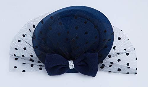 Cizoe Fascinator Hair Clip Pillbox Hat Bowler Feather Flower Veil Wedding Party Hat Tea Hat(6-Navy)