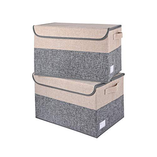 E-MANIS Caja de almacenamiento plegable con tapa,cesta de almacenamiento de tela con asas para organizar estanterías,armarios de habitación de los niños,armarios y oficina (Gris+Beige, 40 x 28 x 25)