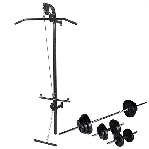 Wetiny - Torre de fuerza para montaje en pared con juego de mancuernas largas y cortas (60,5 kg)
