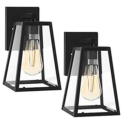DEWENWILS 2-Pack Indoor Outdoor Wall Light, Clear Glass Shade, Matte Black Finish, E26 Socket, Weather Resistant, Exterior Wall Sconce for Garage, Porch, Backyard, ETL Listed