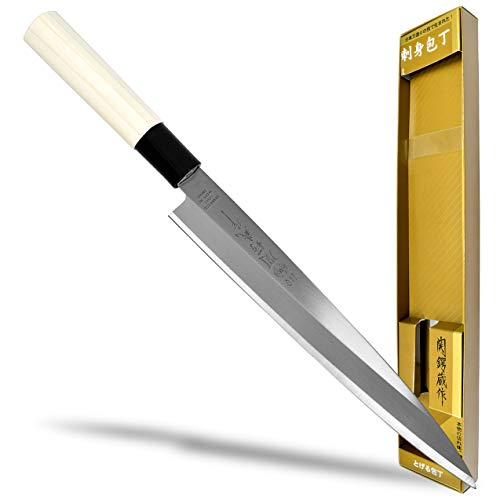 Seki Japan TSUBAZO Japanese Sushi Chef Knife, Stainless Steel Sashimi Yanagiba Knife, Shiraki Handle, 210 mm (8.3 in)