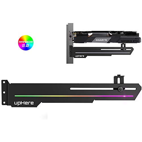 upHere GS05CF Rainbow LED Effec Graphics Card GPU Brace Support Video Card Sag Holder/Holster Bracket,Anodized Aerospace Aluminum,Adjustable Length and Height Support