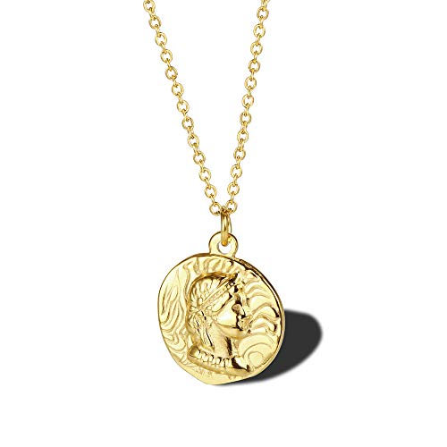 Europese en Amerikaanse religieuze eenvoudige halsketting, koningin Elizabeth gouden munten halsketting titanium staal geplatteerd 18 karaat goud dames sleutelbeen ketting