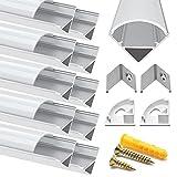 Chesbung Canal de aluminio LED en forma de V, 10 unidades, 1 m, con cubierta y canales LED y difusores con tapas y clips de montaje para tira de luz LED flexible/dura