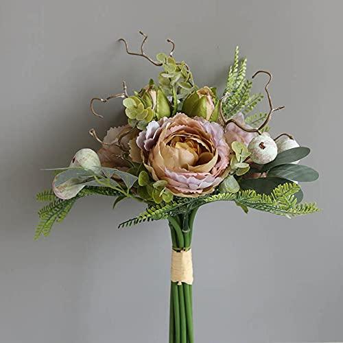 StarLifey Silk Peony Flores Artificiales Ramo de Novia Higo Bayas Hojas Toque Real Arreglos de hortensias Ramos de Boda Centros de Mesa Fiesta en casa Decoración Floral