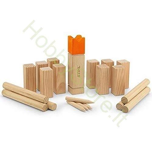 Stihl spel KUBB, grenenhout, FSC-gecertificeerd, 1 RE 30 x 7 x 7 cm, 10 KUBB 15 x 5,5 x 5,5 cm, 6 lantaarns 30 x 3,5 x 3,5 cm, 4 drumsticks DIVISORIE, draagtas.