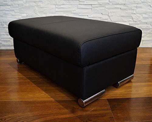 Quattro Meble Schwarz Echtleder Hocker aufklappbar mit Stauraum Sitzhocker Rindsleder Sitzwürfel 90x55cm Fußhocker Polsterhocker Echt Leder Puff