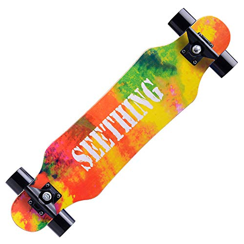 WRISCG Maple Holz Mini Cruiser Skateboard, Skateboard Drop Through Cruiser Komplettboard mit Mach1 High Speed Kugellager,G