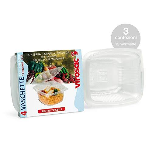 Virosac - Vaschette per alimenti con coperchio piccole, 4 pezzi per confezione, kit da 3 confezioni