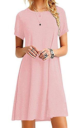 YMING Damen Sommerkleid Kurzarm T-Shirt Kleid Einfarbig Tunika Mini Kleid,Rosa,XL/DE 42