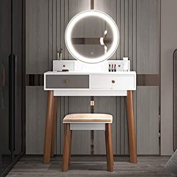 FREDEES Vanity Table Set Makeup Table with 3-Color Touch Screen Mirror&Stool Bedroom Wood Dressing Table with 4 Storage Drawers White
