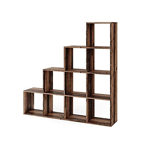 Vicco Treppenregal Raumteiler Stufenregal 10 Fächer Old Style - Bücherregal (10 Fächer)