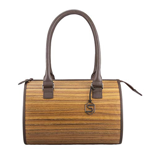 SEBASTIAN STURM Handtasche CARMEN | Gefertigt aus Echtholz Typ Amazaque und Rindleder | Henkeltasche Braun | By