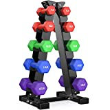 76LB dumbbells set - 5 Tier Dumbbell Rack & 5 Pair Dumbbells, Free weights dumbbells set for home gym exercise, Home Weight dumbbell sets (5 Tier Dumbbell Rack A Pair of 3, 5, 8, 10, 12 lbs Dumbbells)