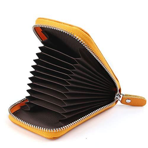 AirZyx AirZyx Kreditkartenetui Damen Leder RFID Schutz Reißverschluss (Gelb)