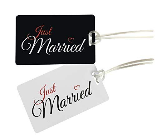 Etiqueta JUST MARRIED - Etiqueta Luna de Miel- Honeymoon Etiqueta para Equipaje- LuggageTag- Recién Casadas- Etiquetas de Maleta- Regalo de boda, Despedida de Soltero, Bridal Shower- 2pc.-NEGRO/BLANCO