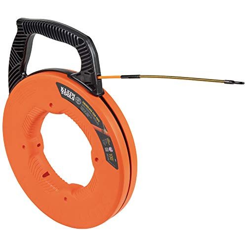 Klein Tools 56351 Fish Tape, Fiberglass Wire Puller with Spiral Steel Leader, Optimized Housing and Handle, 100-Foot x 0.182-Inch