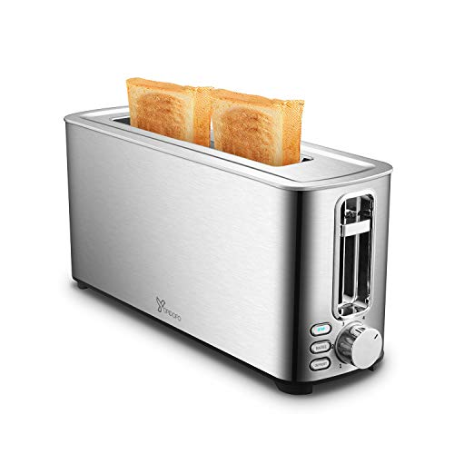 YOPIDOFO 2 Slice Toaster, Stainless Steel Toasters with 1.5 Inches Wide Slot Bagel, Defrost, Cancel Functions 6 Shade Settings for Home Family