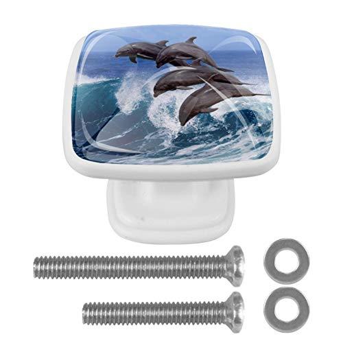 [4 unidades] Pomo vintage de metal para armario o cajón, tirador de puerta, diseño de delfín océano