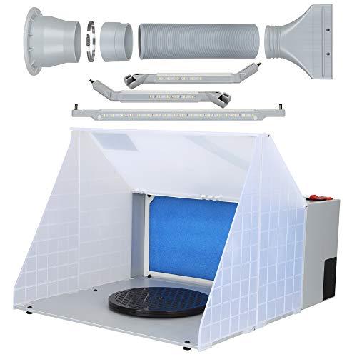 MATHOWAL Kit de banco de trabajo de cabina de pintura en aerosol portátil con aerógrafo, pintura para hornear con ventilador de escape, con caja de pintura en aerosol con filtro de manguera