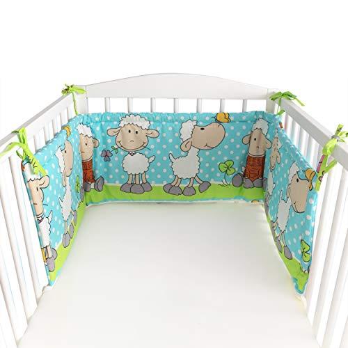 BlueberryShop Stoffschutz für Kinderbetten, 150 x 35 x 4 cm, Bestimmt für Kinder von 0-3 Jahren, 100% Baumwolle, Blaue Schafe