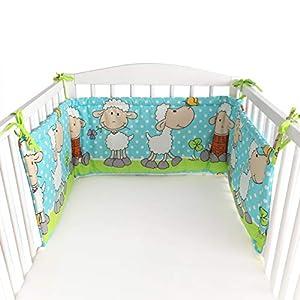 BlueberryShop Protector de Cuna, 150 x 35 x 4 cm, Para Niños de 0 a 3 años, 100% algodon, Oveja Azul