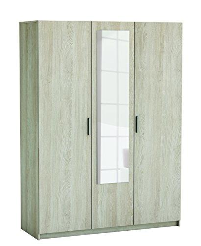 Armario Ropero Prins con Espejo 3 Puertas Habitación Matrimonio Estilo Moderno Roble Shannon 193x143x52 cm