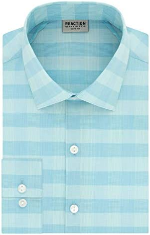 Kenneth Cole REACTION Men s Dress Shirt Technicole Slim Fit Check Seafoam 16 Neck 34 35 Sleeve product image