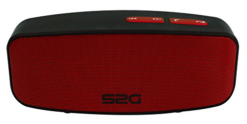 S2G AXESS Stereo Bluetooth Lautsprecher, FM Radio, USB, Micro-SD, Spritzwassergeschützt, kraftvoller Bass, Outdoor, Indoor, Modernes Design - Schwarz/Rot
