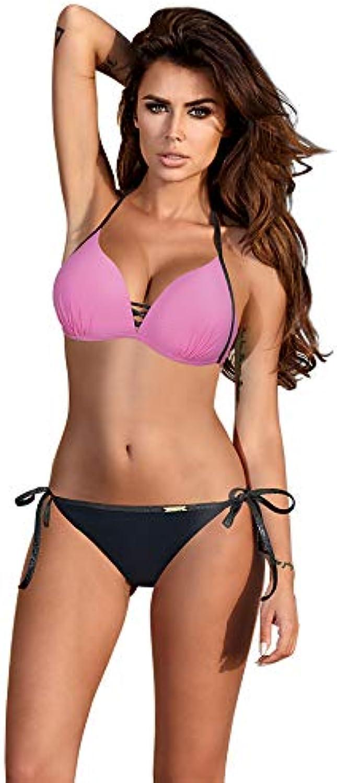 ESSV Red Patchwork Bikini Set Women Push up Swimsuit Padded Swimwear Halter Summer Swimming Suit Bather Beachwear Biquini XXL color Pink Size M